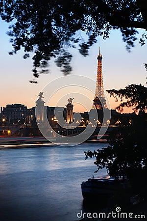 Paris at dusk Editorial Photo