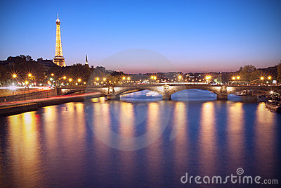 Paris at dusk Editorial Stock Photo