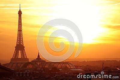 Paris effel panoramic view at sunset