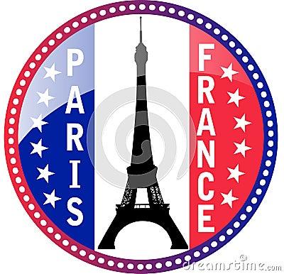 Paris and Eiffel tower button