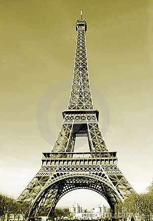 Paris Eiffel Tower in France Sepia Tone