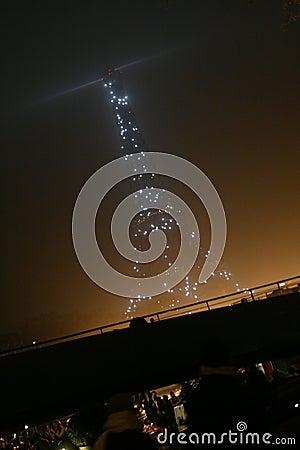 Paris, Eiffel Tower at night Editorial Photo