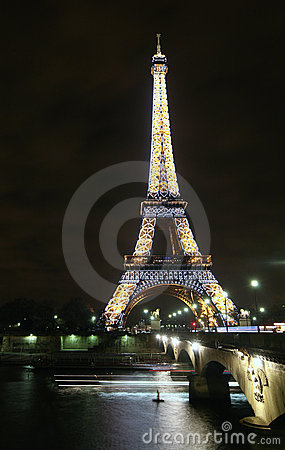 Paris Eiffel Tower at night Editorial Photo