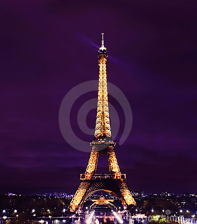 Paris Eiffel Tower at Night Editorial Stock Image
