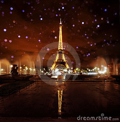 Paris Eiffel Tower at Night Editorial Image