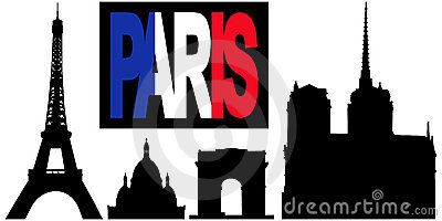 Paris flag text and landmarks