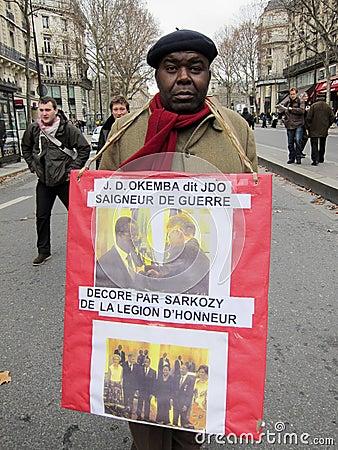 Paris, France, Congo Demonstration, Portrait  Editorial Image