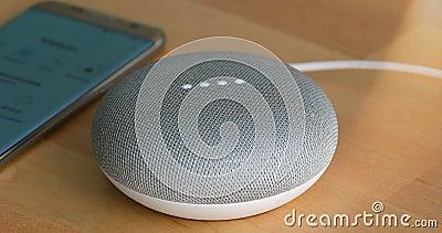 Paris, France - 17 décembre 2018 : Couleur de craie de Mini On The Wooden Table de maison de Google Haut-parleur futé avec l'assi banque de vidéos