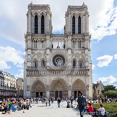 PARIS, FRANCE - OCTOBER 2: Notre Dame Cathedral on October 2, 20 Editorial Photo