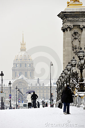 Paris, France, Winter Snow Storm, Tourists Walking Editorial Stock Image