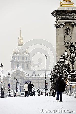 Paris, France, Winter Snow Storm, Tourists Walking Editorial Stock Image