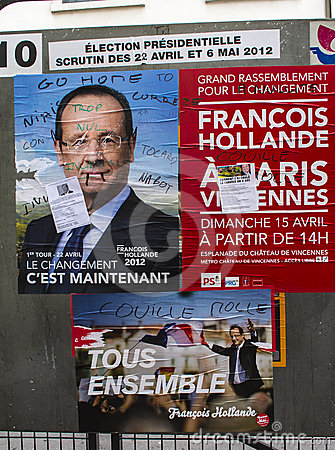 Paris,  Francois Hollande Candidate posters Editorial Photo