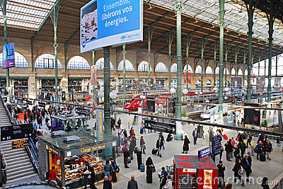 Paris Gare Du Nord Railway Station Editorial Photo