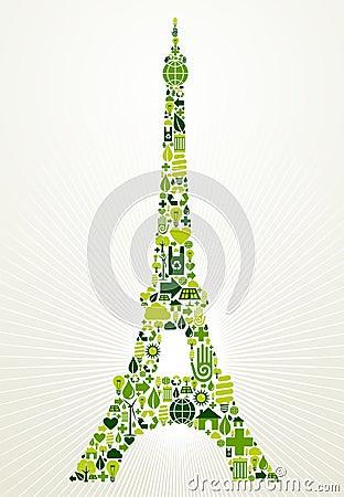 Paris go green concept illustration