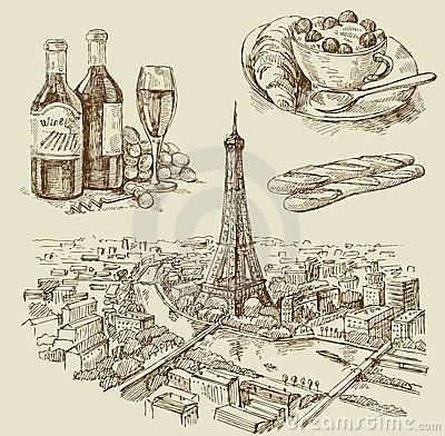 Paris hand drawn