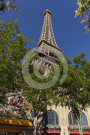 The Paris Hotel Tower Base in Las Vegas, NV on May 20, 2013 Editorial Image