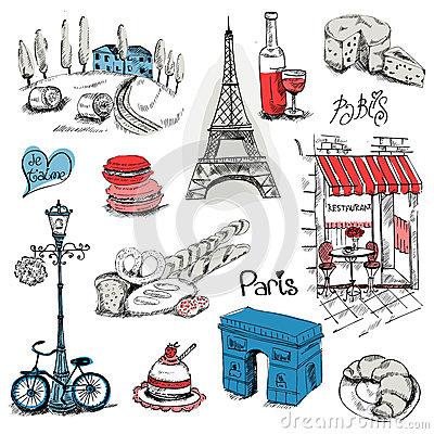 Free Paris Illustration Set Stock Image - 31306211