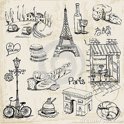 Paris illustration set royalty free stock photo image - Magasin de scrapbooking paris ...