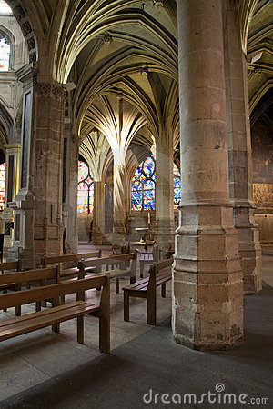 Paris - interior of Saint Severin gothic church