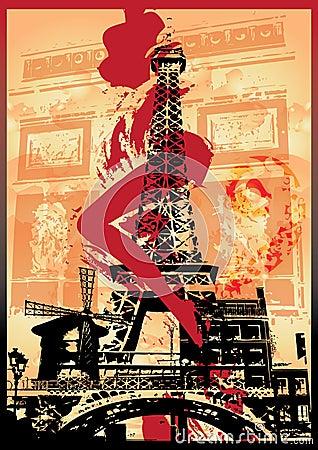 Paris landmarks and woman