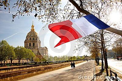 Paris, Les Invalides, berühmter Grenzstein Redaktionelles Foto