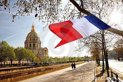 Paris, Les Invalides, borne limite célèbre Photo éditorial