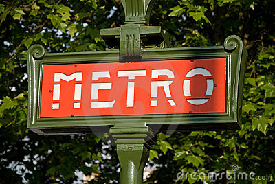 Paris metro entrance sign Editorial Photo
