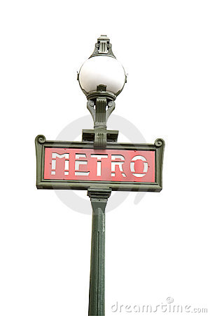 Paris metro sign isolated on white