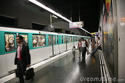 Paris Metro Station and Train Editorial Photography