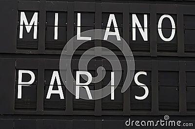 Paris and Milano - airport
