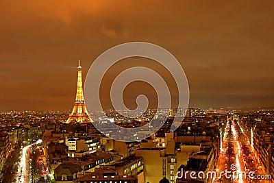 Paris at Night Editorial Image