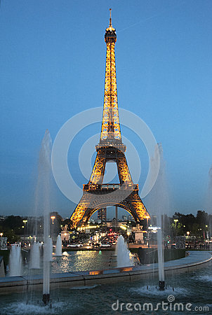 Paris by night: the Eiffel tower Editorial Stock Image
