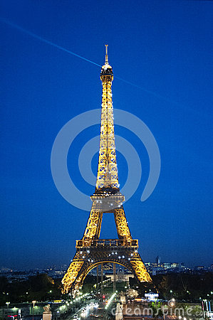 Paris by night: the Eiffel tower Editorial Image