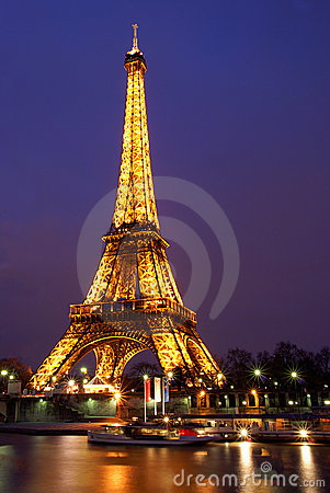 Paris by night: Eiffel tower Editorial Photography