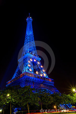 Paris by night: Eiffel tower in blue Editorial Photography
