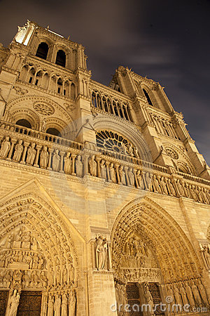 Paris - Notre Dame cathedral at night