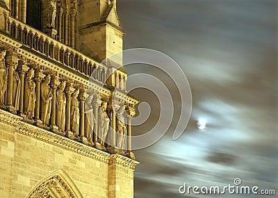 Paris - Notre-Dame facade and moon