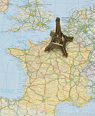 Free Paris On France Map With Miniature Eiffel Tower Royalty Free Stock Photos - 14227468
