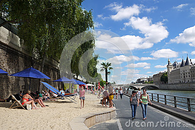 Paris Plages Beaches Editorial Image