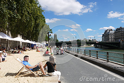 Paris Plages Beaches Editorial Stock Image