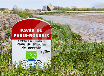 Paris Roubaix- Milestone Editorial Stock Photo