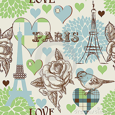 Free Paris Seamless Pattern Royalty Free Stock Photography - 22876497