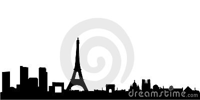 Paris skyline with monuments