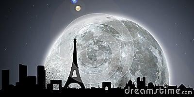 Paris Skyline Night Moon