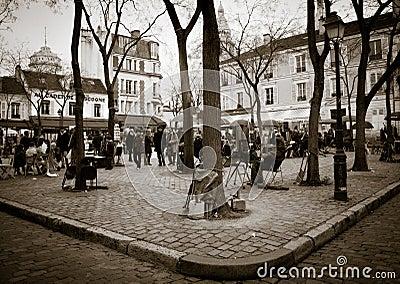 Paris square - Montmartre Editorial Stock Image