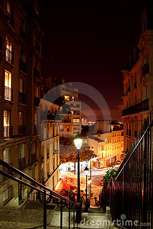 Free Paris Streets By Night - Montmartre Stock Photo - 1720300