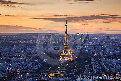 Paris sunset Editorial Stock Image