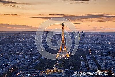 Paris sunset Editorial Stock Image