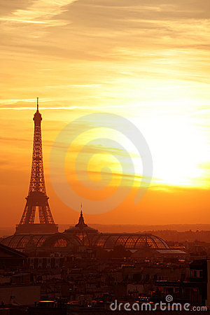 Free Paris Sunset Effel Tower Cityscape Stock Photos - 1471293