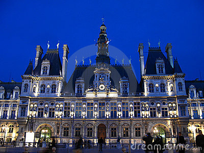 Paris Town Hall at night 01, France